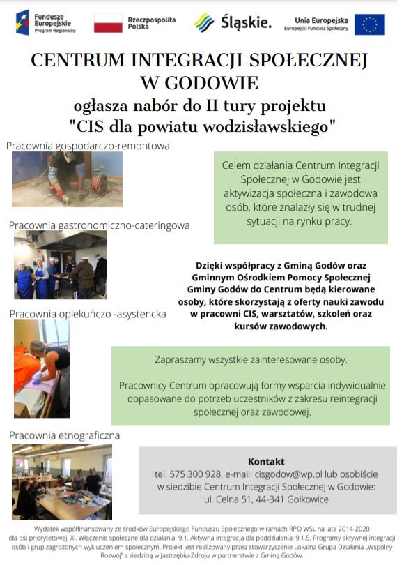 Informacja o naborze do drugiej tury projektu centrum integracji społecznej dla powiatu wodzisławskiego