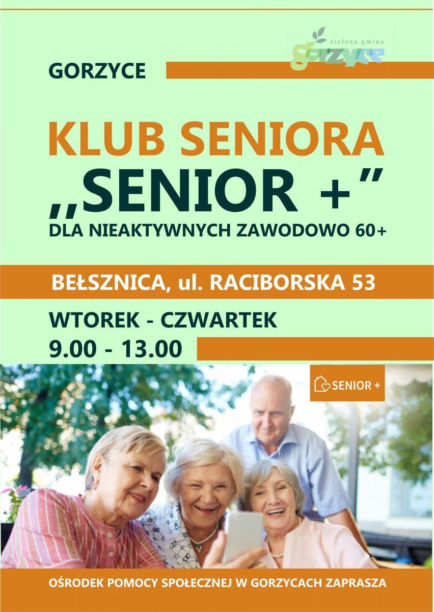 Informacja dotycząca dni i godzin otwarcia klubu seniora senior plus w bełsznicy