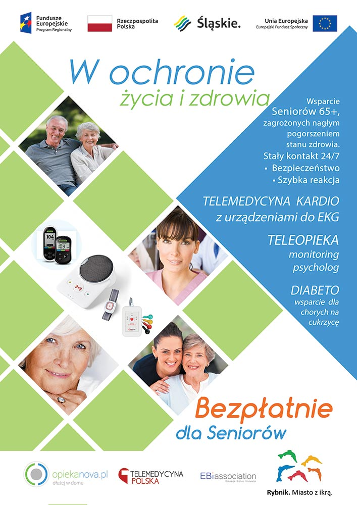 Plakat informujący o projekcie W ochronie życia i zdrowia, przeznaczony dla osób 65+
